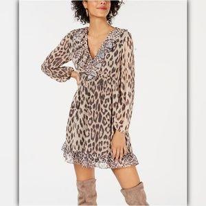 Bar III Ruffled Leopard-Print Dress